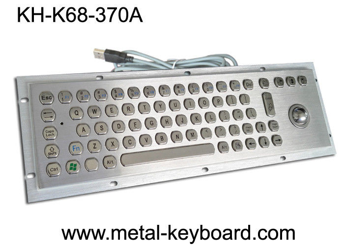 Waterproof Rugged Industrial Keyboard with Trackball 70 Keys for Internet Kiosk