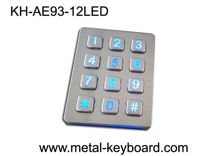 Panel - Mount waterproof Metal Keypad with 3x4 Matrix , 12 Keys Backlit
