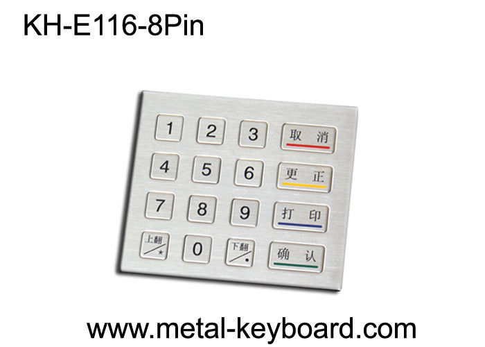 Rugged Metal Keypad with 16 Keys / custom Kiosk Keypad PS / 2 or USB connector