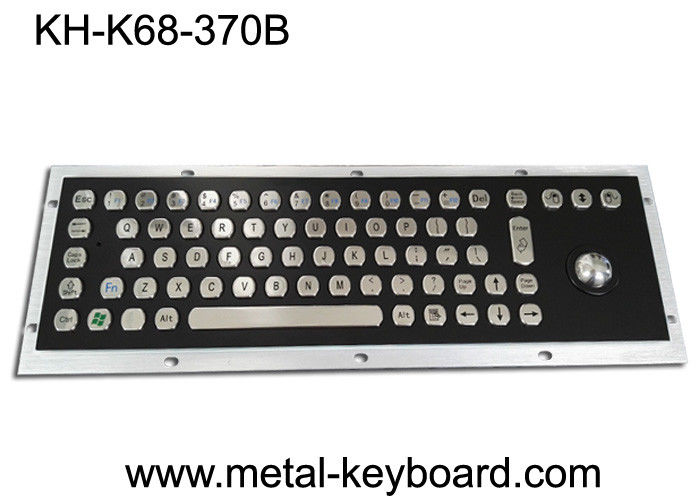 Electroplated Black Industrial Keyboard with Trackball Stainless Steel Laser Trackball