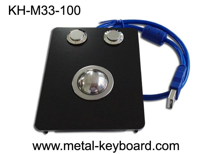 Panel Mount Industrial Pointing Device Black Metal Trackball IP65 Smooth Operation