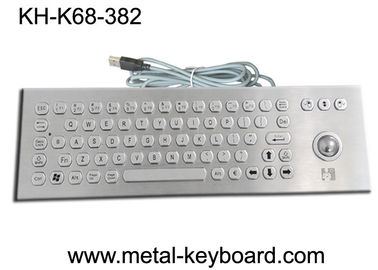 Çin Rugged Vandal resistant metal keyboard with trackball , PS / 2 connector Fabrika